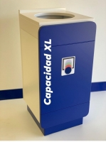 Papelera corporativa N XL tapa Blanca y frontal Azul